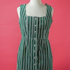 Urban Outfitters Button-Down Green Stripped Dress